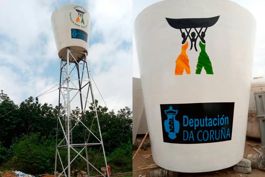 Se instala un depósito de agua para el proyecto agropecuario de Égueire